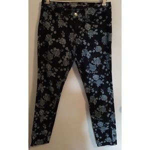 American Eagle Blue Floral Jeggings Jeans 10